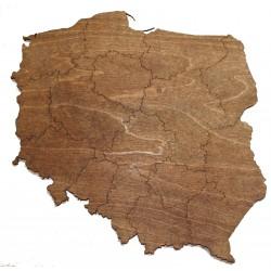 Mapa POLSKI drewniana 4mm